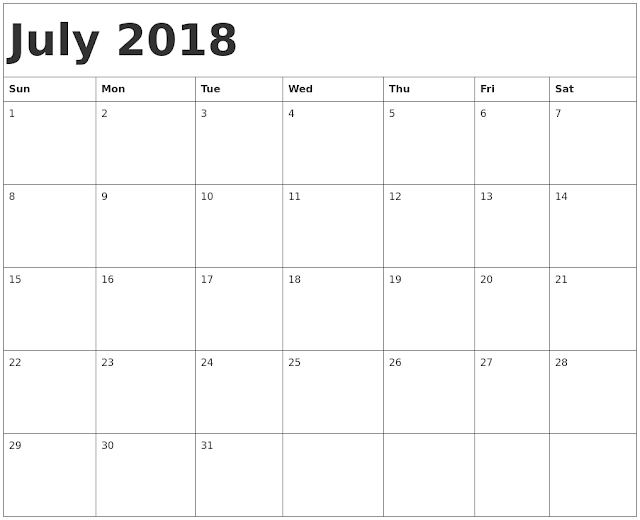 July 2018 family holiday calendar