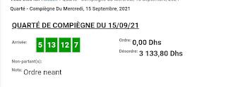 Arrivée DE AGEN DU 15/09/2021 Tiercé et Quinté QUARTE