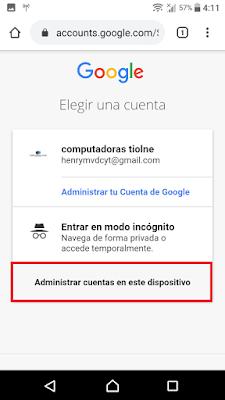 selecciona la opcion que dice administrar cuenta de google