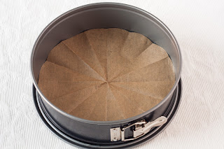 Oblaganje papirom za pečenje kalupa za torte