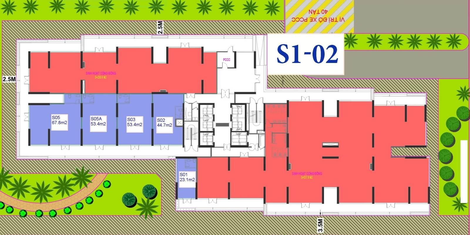 Mặt bằng toà S1 - 02 Shophouse Vinhomes Đại Mỗ