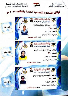 بالصور والاسماء كامله ننشر اسماء الطلاب الاوائل للشهادة الاعدادية 2019 محافظة اسوان