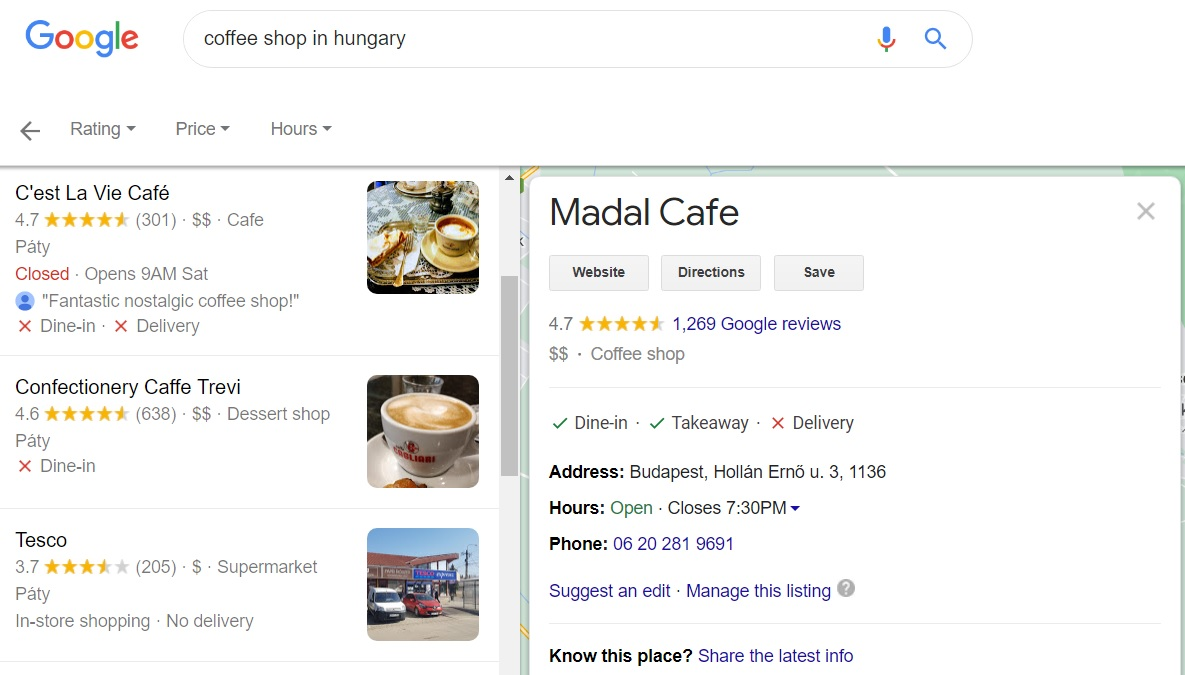 NAP citation in Google Map, showing Name, Address and Phone number of a Hungarian Coffee shop