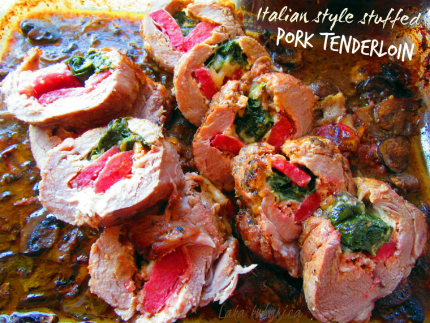Italian style stuffed pork tenderloin by Laka kuharica: fork tender meat in aromatic gravy with stuffing.