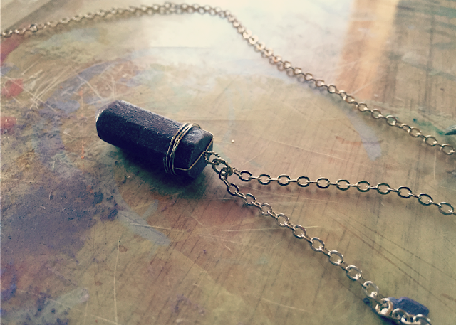DIY Wire-wrapped crystal necklace