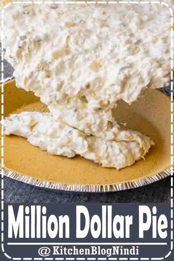 4.8★★★★★ | This creamy, no bake, Million Dollar Pie is the easiest pie ever to make. Its luscious tropical filling is utterly delicious. An ideal dessert for summer! #Dissert #MillionDollar #Pie