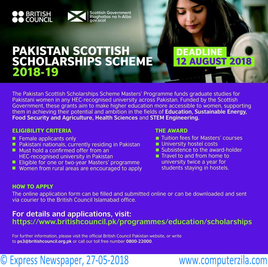 Pakistan Scottish Scholarships Scheme 2018-19