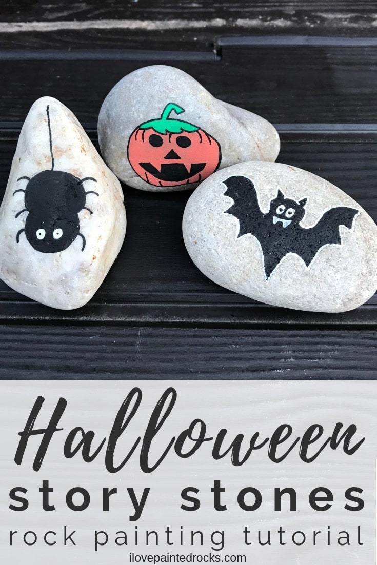 Super easy rock painting ides for Halloween Friendly spider painted rocks are perfect for halloween! #paintedrocks #rockpainting #halloweencrafts #halloween #pumpkin #rockart #tutorial #howtodraw #jackolantern #bat #spider #storystones