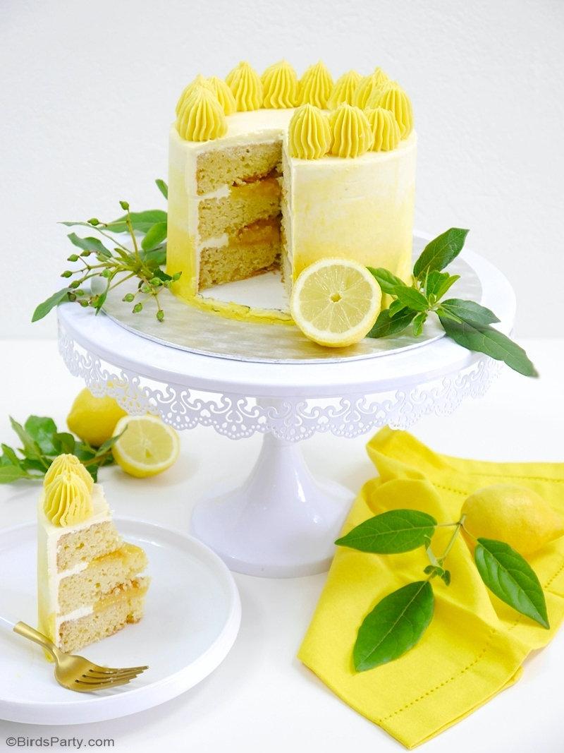 Layer Cake Ombré au Citron - un biscuit moelleux, délicieux couvert d'un glaçage au crème au beurre Suisse et garni d'un crème au citron! by BirdsParty.com @birdsparty #gateaux #gateau #recette #recettegateau #geatucitron #layercake #cakedesign