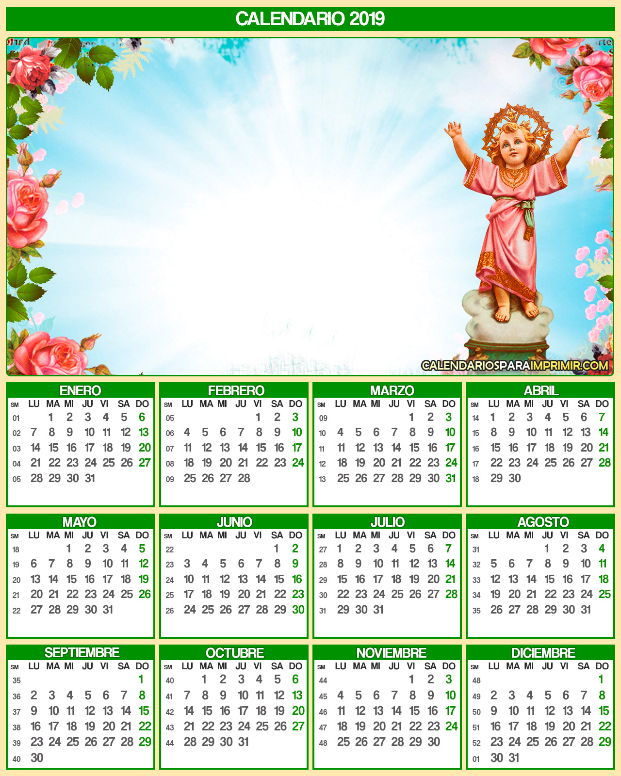 calendario 2019 religioso divino nino para imprimir