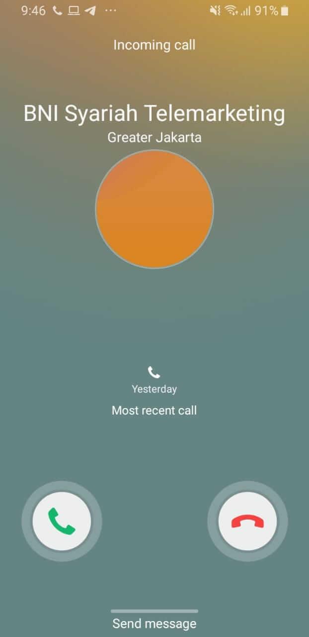 telpon dari telemarketing BNI Syariah