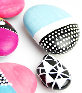 color blocked geometric painted rocks