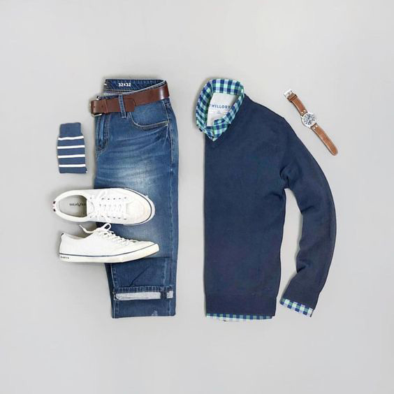 blue boys outfit grids