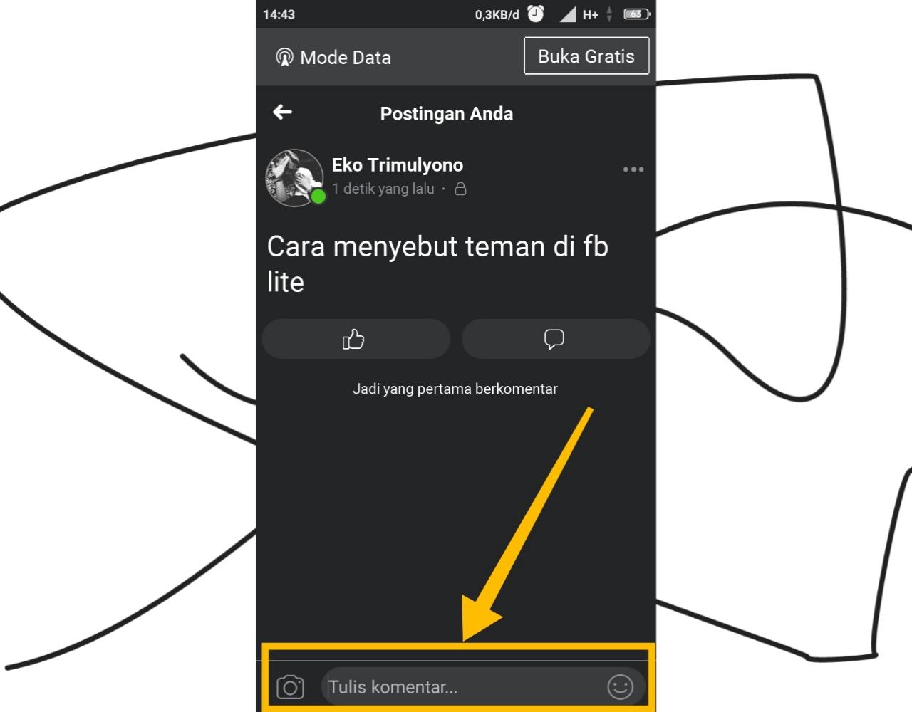 cara tag teman di fb lite yang sudah terkirim