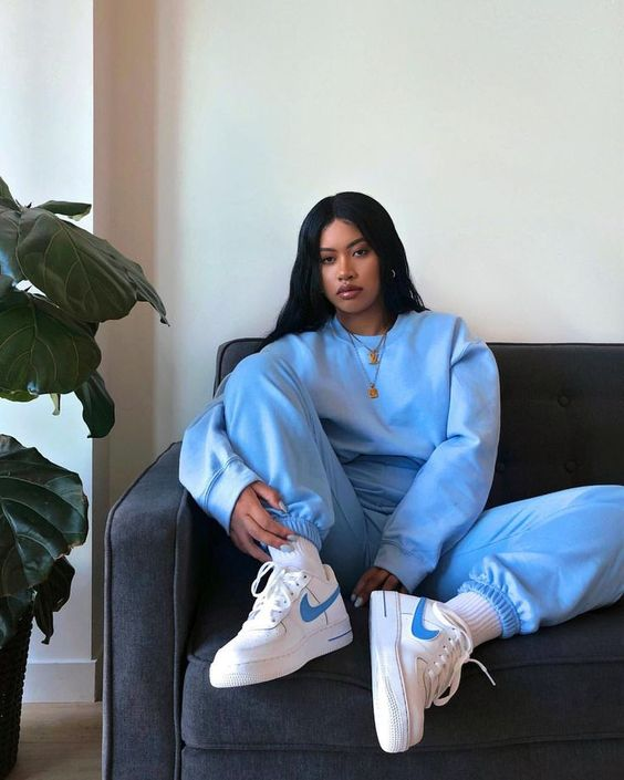 stefneyv blue sweatshirt blue joggers nike air max sneakers blue swoosh logo
