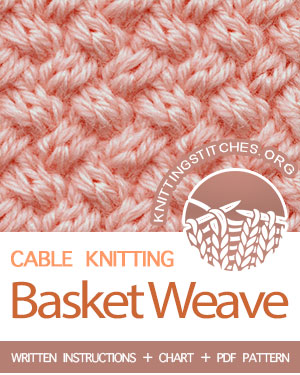 Cable Knitting. #howtoknit the Basket Weave cable Stitch. (Techniques used: 2/2 Right cross and 2/2 Left cross). FREE written instructions, Chart, PDF knitting pattern.  #knittingstitches #knitting #knit #cableknitting