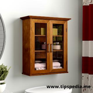 brown bathroom wall cabinet