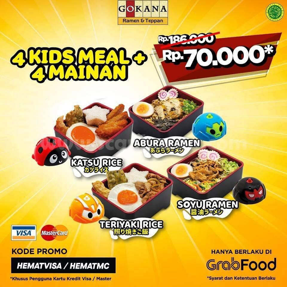 Promo Gokana 4 Kids Meal pluss 4 Mainan Gyro Spinner cuma 70rb aja