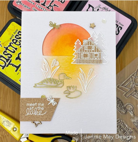 Meet me at the lake house by Jennie features Winston's Lake House by Newton's Nook Designs; #inkypaws, #newtonsnook, #cardmaking