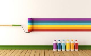 cara mengecat tembok motif garis