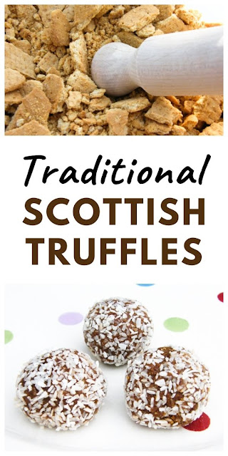 A traditional recipe for Scottish truffles made with coconut, digestive biscuits, drinking chocolate and condensed milk. #chocolatetruffles #coconuttruffles #scottishtruffles #truffles #easytrufflerecipes #scottishtreats #fridgecakes
