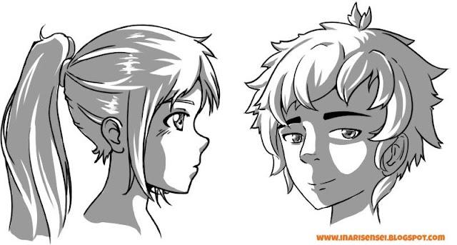 Ombres sur des personnages mangas masculins et féminins