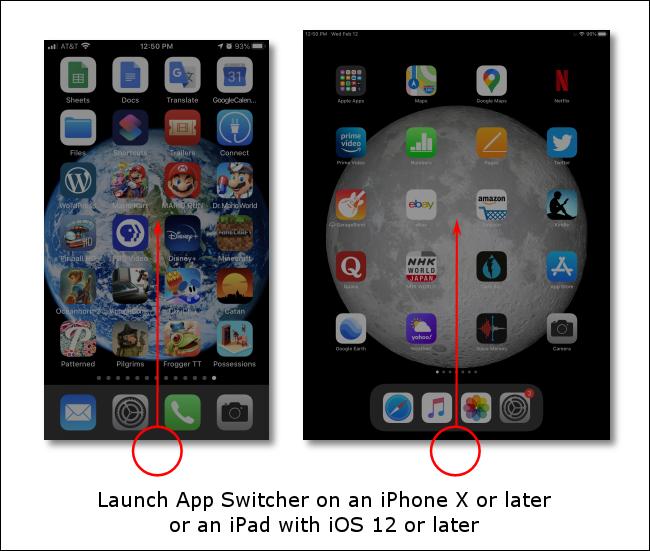 اسحب لأعلى من أسفل الشاشة لتشغيل App Switcher على أجهزة iPhone أو iPad بدون أزرار الصفحة الرئيسية.