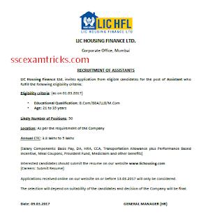 LIC HFL Assistant vacancy notice
