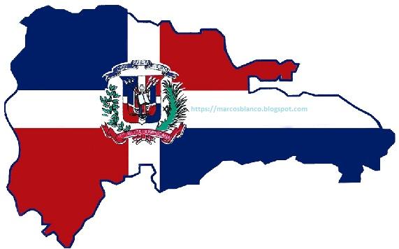 Nuestra República Dominicana: Mapa Vestido de Bandera y Escudo