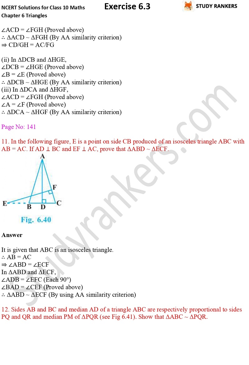 NCERT Solutions for Class 10 Maths Chapter 6 Triangles Exercise 6.3 Part 8