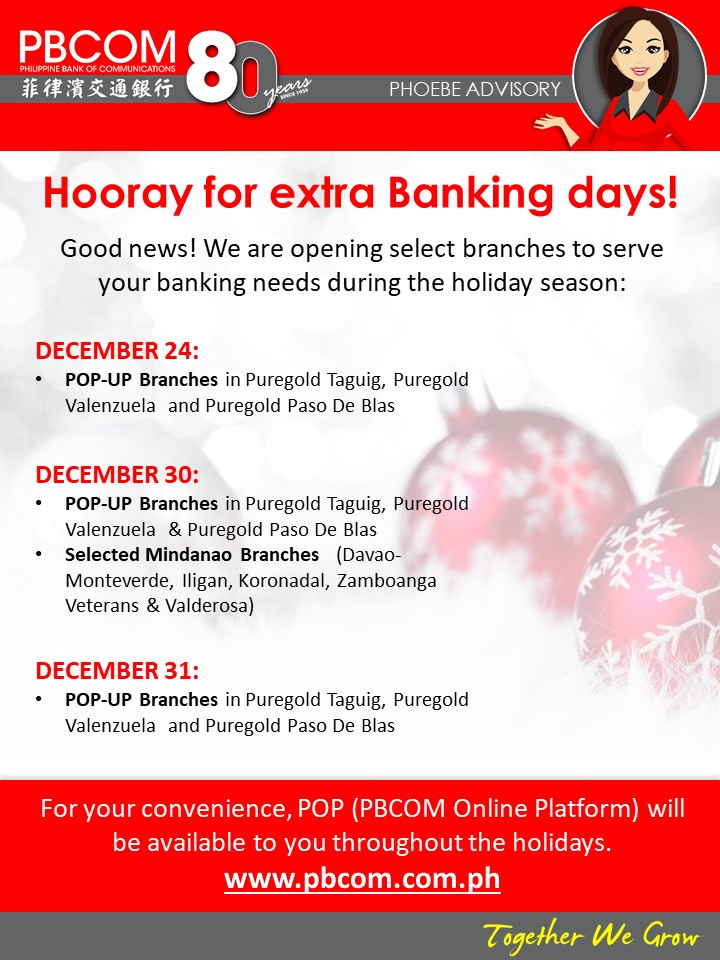 Philippine Bank of Communications (PBCOM) holiday schedule