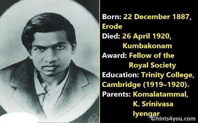 Biography Of Srinivasa Ramanujan - Great Indian Mathematician
