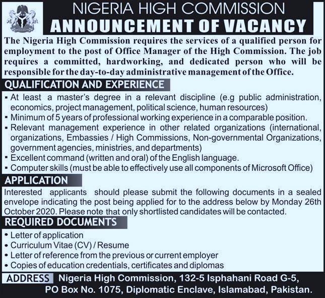 Nigeria High Commission Jobs | latest jobs Islamabad 2020 | jobs in islambad
