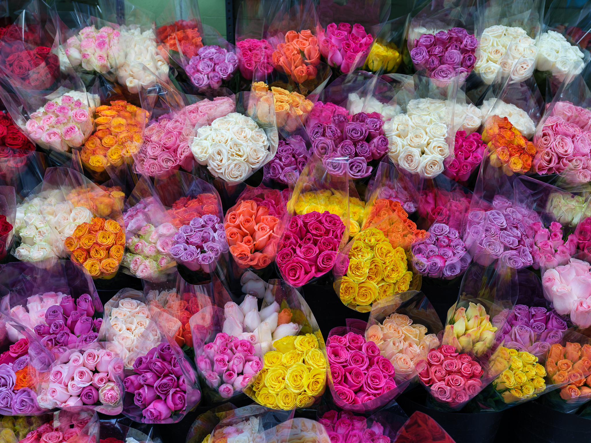 a photo of colorful flowers at a new york deli