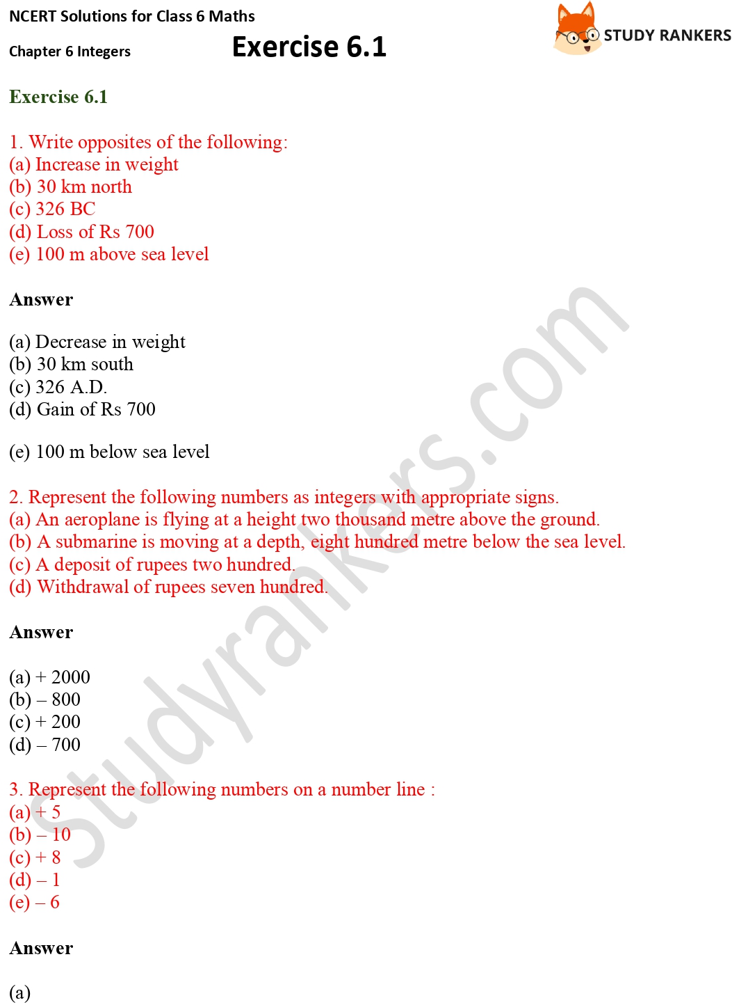NCERT Solutions for Class 6 Maths Chapter 6 Integers Exercise 6.1 Part 1