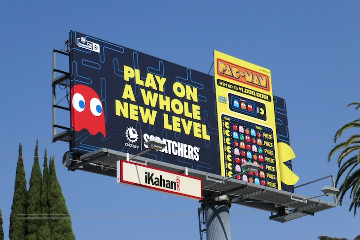 whole new level California Lottery PacMan Scratchers billboard