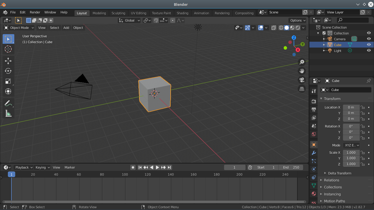 Tela inicial do Blender 2.82a