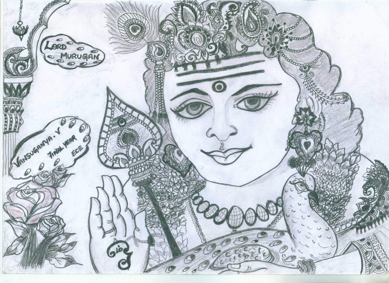 Gods own web lord muruga pencil sketch lord muruga alias lord