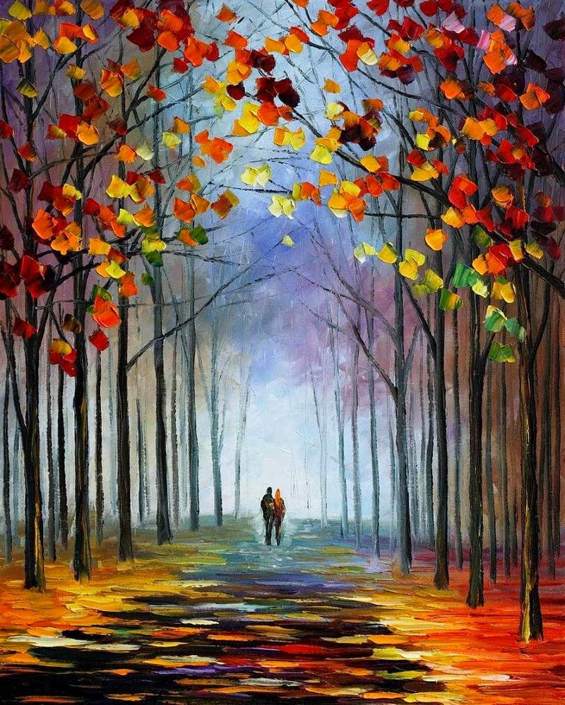 autumn fall painting wallpaper leonid afremov