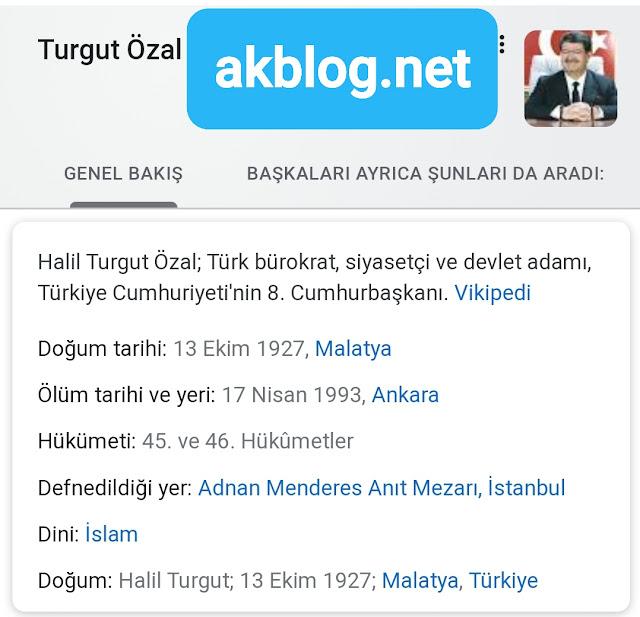 Turgut Özal Kimdir Tarihçe-i Hayat
