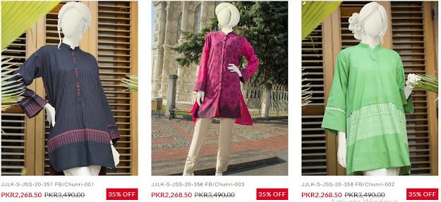 J. junaid jamshed summer gala sale women kurtis pretwear