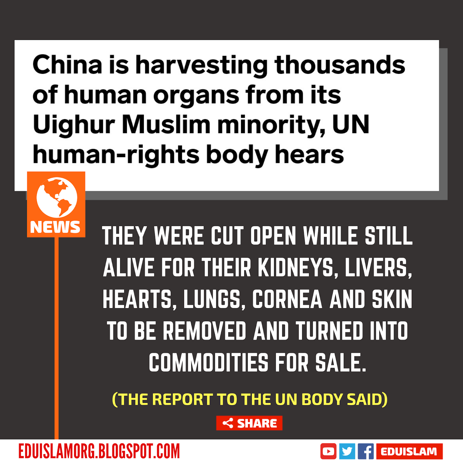 China silently carrying out the Genocide of Ughyur Muslims.