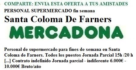 Sta Coloma Farner, Girona, Lanzadera de Empleo Virtual, Oferta Mercadona