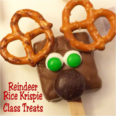 You will seem like a supermom when you make these Reindeer Rice Krispie treats for your kids' class Christmas party.  Only you will know how easy they were to make.