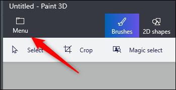 خيار القائمة في Paint 3D