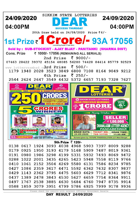 Sikkim State Lottery Sambad 24-09-2020 Today Result 4 PM