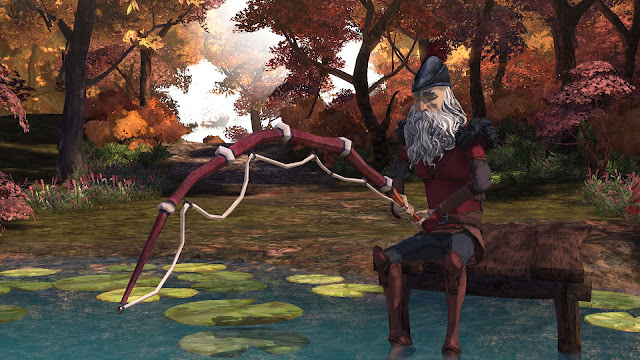 Screenshot of King's Quest with an old King Graham fishing