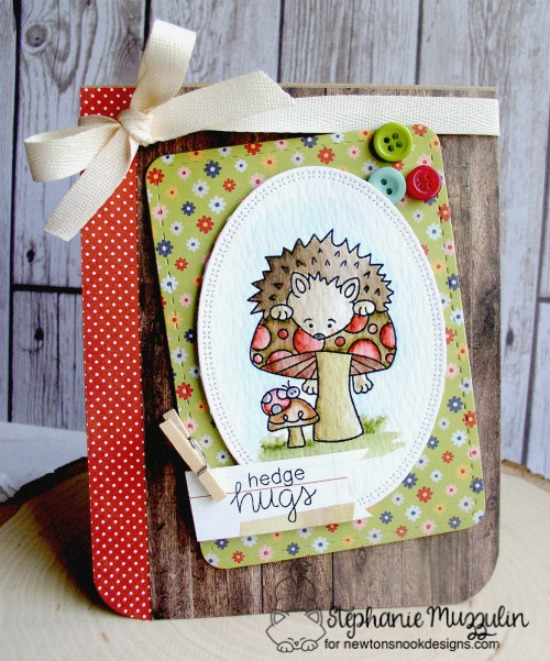 Sending Hedge Hugs card by Stephanie Muzzulin  | Hedgehog Hollow Stamp set by Newton's Nook Designs #newtonsnook #hedgehog
