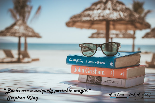"""Books are a uniquely portable magic."" by Stephen King on a beach scene by Extra Ink Edits, supplying professional freelance editor and writing consultant for editing services for writers"