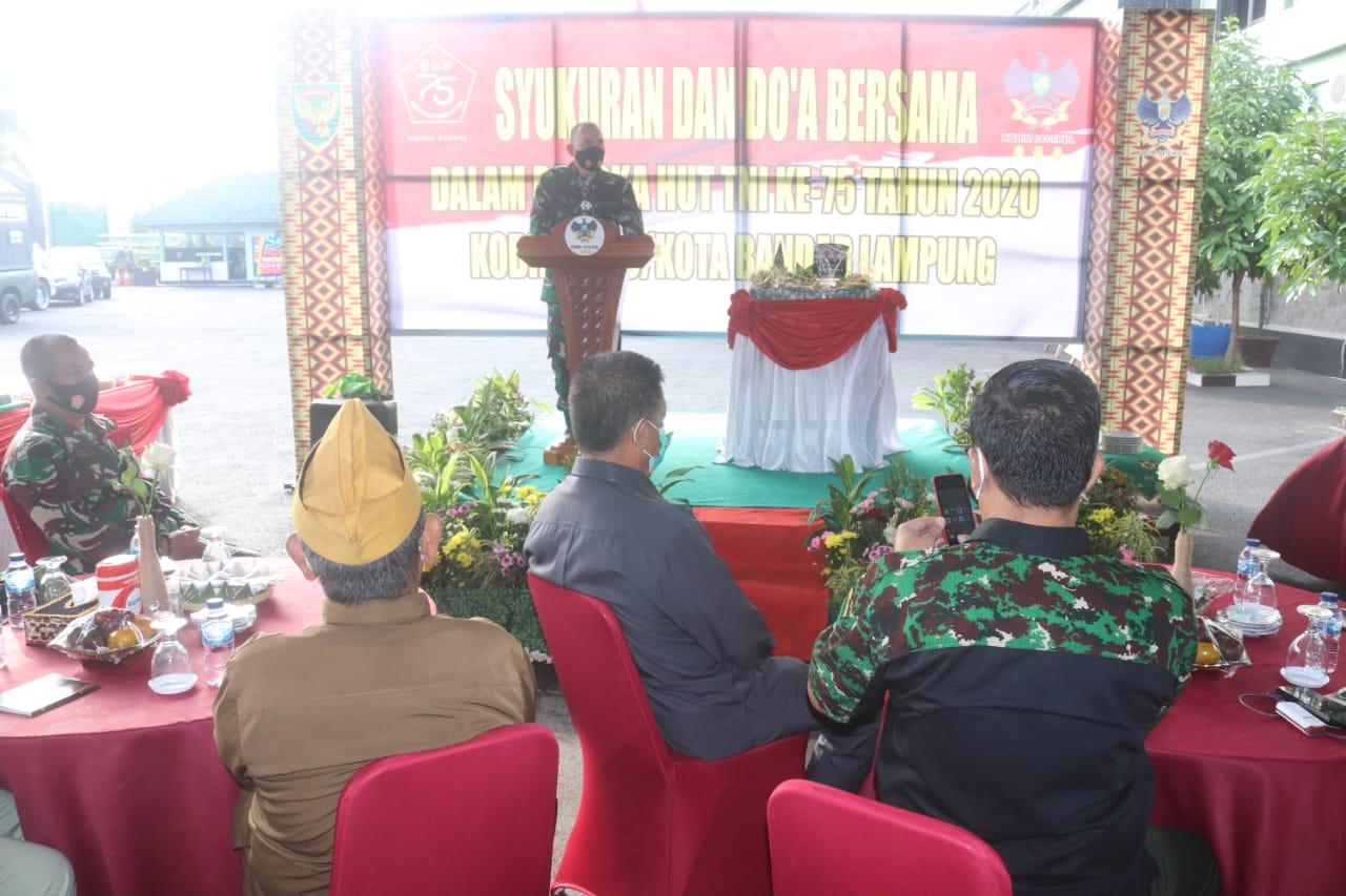 Kodim 0410/KBL gelar acara  Syukuran dan Doa bersama dalam rangka HUT TNI Ke-75